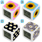 Sunflower Daisy Flower Cute Alarm Digital Clock 7 LED Color Changing Light