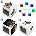 Puppy Pug Dachshund Dog Cute Alarm Digital Clock 7 LED Color Changing Light