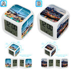 Airplane Airport Turkey Istanbul City Alarm Digital Clock 7 LED Color Changing