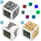 Floral Tribal Elephant Animal Alarm Digital Clock 7 LED Color Changing Light