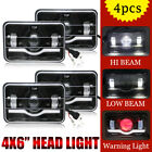"""4PCS Black Red Demon 4""""x6"""" LED Headlights Sealed Beam Bulb HID Xenon Replacement"""
