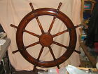 "Antique Solid Hand Made Inlaid Gorgous Huge Sailboat 48"" Helm Wheel-one ofa kind"