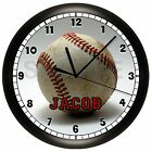 BASEBALL WALL CLOCK SPORTS KIDS BEDROOM DECOR TEAM BALL GIFT PERSONALIZED CUSTOM