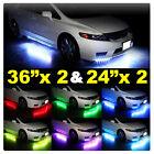 "2x 24"" 2x 36"" 12v 23 Mode 7 Color Neon LED Underglow + Black Wireless Remote Kit"