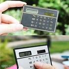 1X Thin Slim Solar Energy Power Card Size Portable Calculator 8digit LCD Display
