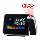 Projection LCD Digital Weather Snooze Alarm Clock Calendar w/Color LED Backlight