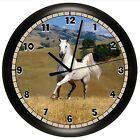 WHITE HORSE WALL CLOCK GIFT DECOR STALLION EQUESTRIAN BEDROOM GIRL
