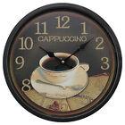 Black Matte Finishing 34cm Round Iron Wall Clock Coffee Shop Cappuccino Cafe