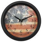 Black Matte Finishing 34cm Round Extra Thick Iron Wall Clock Worn US Flag