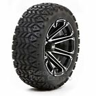 "HD3 12"" Black/Silver Machined Golf Cart Wheels with 23"" All Terrain Tires - Set"