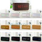 Sound Control Wooden USB/AA LED Digital Alarm Desk Clock Calendar Thermometer