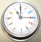 Victory BA683.2RF White Dial Brushed Stainless Steel Clock w/ Flag Motif.