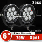 2X 6Inch 70W Round Cree LED Work Driving Light Spot Fog Offroad ATV Boat Jeep