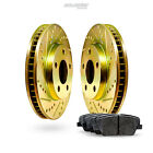 Front Gold Drilled Slotted Brake Disc and Ceramic Pad Fits 2005-2006 Elantra