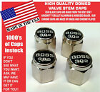 Chrome Ford Mustang Tribute Fastback 302 Black Valve Stem Caps - Nice