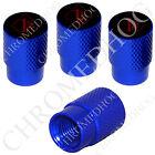 4 D Blue Billet Aluminum Knurled Tire Air Valve Stem Caps - 1% ER Percenter BDBR