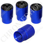 4 D Blue Billet Aluminum Knurled Tire Air Valve Stem Caps - Chrome Skull FG