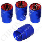 4 D Blue Billet Aluminum Knurled Tire Air Valve Stem Caps - Red Zombie Demon Eye