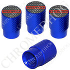 4 D Blue Billet Aluminum Knurled Tire Air Valve Stem Caps - Red Line FF DP