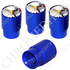 4 D Blue Billet Aluminum Knurled Tire Air Valve Stem Caps - American Bald Eagle