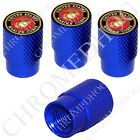 4 D Blue Billet Aluminum Knurled Tire Air Valve Stem Caps - USMC Marines EGA R