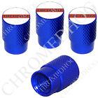 4 D Blue Billet Aluminum Knurled Tire Air Valve Stem Caps - Red Line FF White T