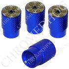 4 D Blue Billet Aluminum Knurled Tire Air Valve Stem Caps - Revolver Magnum Gun