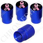 4 D Blue Billet Aluminum Knurled Tire Air Valve Stem Caps - Pink Ribbon Black H
