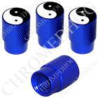 4 D Blue Billet Aluminum Knurled Tire Air Valve Stem Caps - Yin Yang Black/ Wht