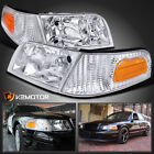 98-11 Ford Crown Victoria Headlights+Clear Corner Signal Lamps Left+Right