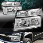 CHROME HOUSING HEADLIGHTS+BUMPER LAMP W/CLEAR REFLECTOR 4PC FIT 04-12 GMC CANYON