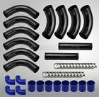 """UNIVERSAL BLACK FRONT MOUNT INTERCOOLER PIPING KIT w/BLUE COUPLERS 12 PIECES 3"""""""
