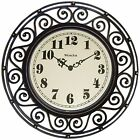 Round Filigree Rubbed Clock 12-Inch Bronze Attractive Practical Battery Operated