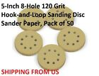 5-Inch 8-Hole 120 Grit  Hook-and-Loop Sanding Disc Sander Paper, Pack of 50