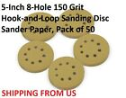 5-Inch 8-Hole 150 Grit  Hook-and-Loop Sanding Disc Sander Paper, Pack of 50
