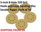 5-Inch 8-Hole 220 Grit  Hook-and-Loop Sanding Disc Sander Paper, Pack of 50