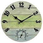 "14"" Resin Outdoor / Indoor Wall Clock with Thermometer - Distressed finish"