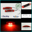 (2) TecNiq RED 2 LED light Clearance Marker Trailer Truck Surface Mount 1 wire