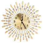 3D Metal Wall Clock Diamonds Flower Silent Dazzling Home Office Decor Clocks Kit