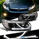 Fit 06-11 Honda Civic 2Dr Coupe Black LED DRL Driving Lamp Projector Headlights