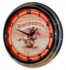 """Retro 17"""" Red Neon Winchester Firearms & Ammunition Sign Wall Clock NEW"""