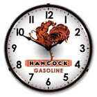 Hancock Gas Gasoline Game Room Man Cave Lighted Wall Clock Sign NEW