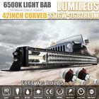 "2376W 42INCH CURVED LED Light Bar H13 Headlight bulbs for Offroad Honda 52""54""50"