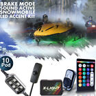 10pc LED 18-Color Snowmobile UnderGlow Neon Lighting Kit For Polaris Music Mode