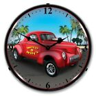 Retro Nostalgic Style Willys Gasser Lighted Backlit Wall Clock Sign Man Cave