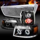 04-08 F150 Black LED Projector Headlights+LED Tail Lamps+Chrome Vertical Grille