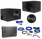 """Coustic By MTX C124 12"""" 500w Subwoofer+Vented Sub Box Enclosure+Amplifier+Wires"""