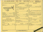 1974 CHECKER MOTORS CAR & TAXI 250 ci Engine Car SUN ELECTRIC SPEC SHEET