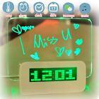 Blue Green LED Fluorescent Digital Alarm Clock Message Board USB 4 Port Hub Home