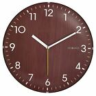 Non-Ticking Silent Wall Clock Dome Wooden Traditional Touch Decor Brown